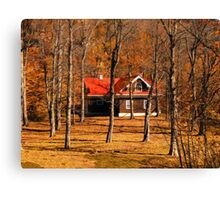 Secluded Red Roof Cottage in the Woods - Fall Autumn Time w/ Orange Leaf Trees Canvas Print