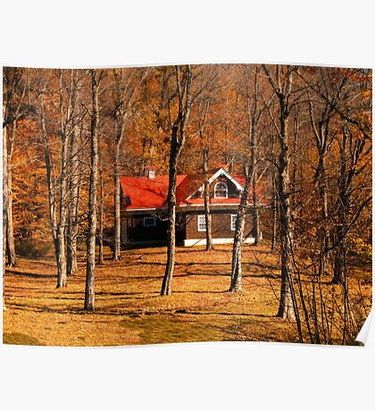 Secluded Red Roof Cottage in the Woods - Fall Autumn Time w/ Orange Leaf Trees Poster
