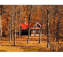 Secluded Red Roof Cottage in the Woods - Fall Autumn Time w/ Orange Leaf Trees Photographic Print