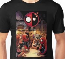 Deadpool and Spider-Man in A Bar Unisex T-Shirt
