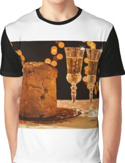 Italian panettone and sparkling wine over a table Graphic T-Shirt