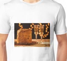 Italian panettone and sparkling wine over a table Unisex T-Shirt
