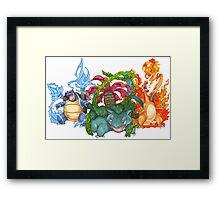 Pokemon Gen I Starters Framed Print