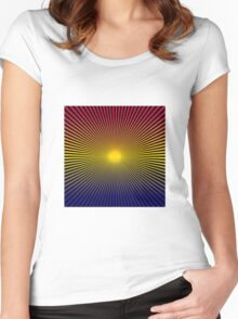 Lines Gradient - Blue | Yellow | Red | Black Women's Fitted Scoop T-Shirt
