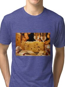 Closeup of sliced italian panettone and sparkling wine Tri-blend T-Shirt