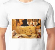 Closeup of sliced italian panettone and sparkling wine Unisex T-Shirt