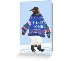Merry X-mas Mr. penguin Greeting Card