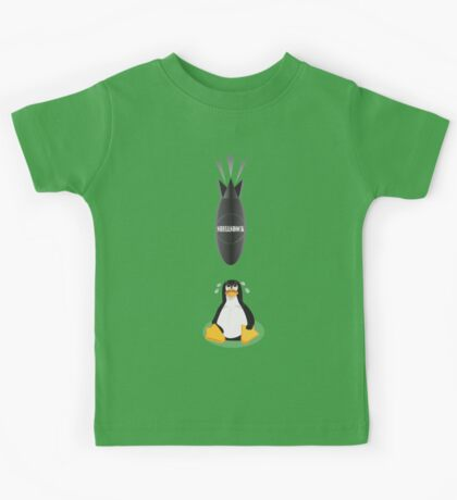 Funny Shellshock Bug Shirt with Linux's Penguin Kids Tee