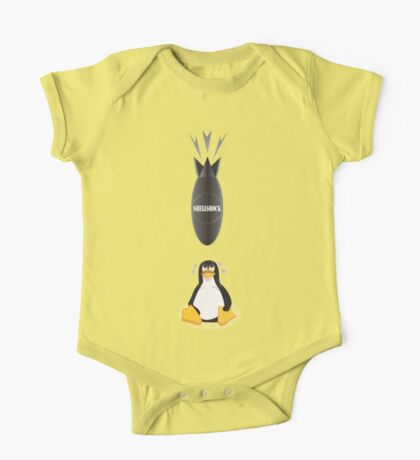 Funny Shellshock Bug Shirt with Linux's Penguin One Piece - Short Sleeve