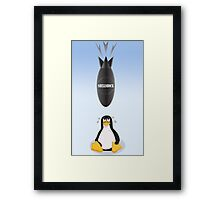 Funny Shellshock Bug Shirt with Linux's Penguin Framed Print