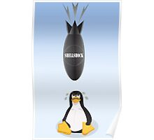 Funny Shellshock Bug Shirt with Linux's Penguin Poster