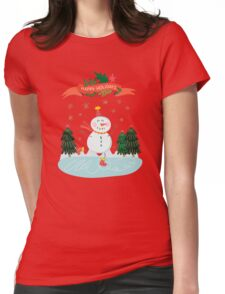 Cute Fun Snowman Merry Christmas  Womens Fitted T-Shirt