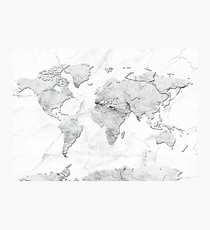 world map marble 3 Photographic Print