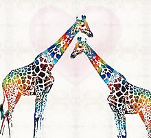 Colorful Giraffe Art - I've Got Your Back - By Sharon Cummings Photographic Print