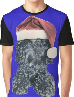 Cockapoo in a Christmas Santa Hat (Blue) Graphic T-Shirt