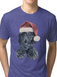 Cockapoo in a Christmas Santa Hat (Blue) Tri-blend T-Shirt
