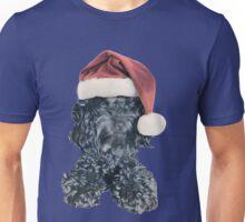 Cockapoo in a Christmas Santa Hat (Blue) Unisex T-Shirt