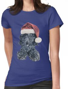 Cockapoo in a Christmas Santa Hat (Blue) Womens Fitted T-Shirt
