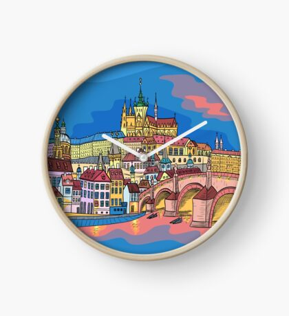 Christmas Prague landscape Clock