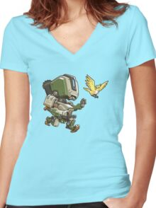 Overwatch- Bastion Cute Spray Women's Fitted V-Neck T-Shirt