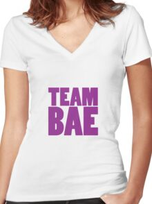 TEAM BAE PURPLE Women's Fitted V-Neck T-Shirt