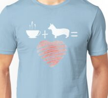 Corgi + Coffee = Love.  Cute Corgi design Unisex T-Shirt
