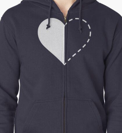 Heart: half empty? half full? Zipped Hoodie