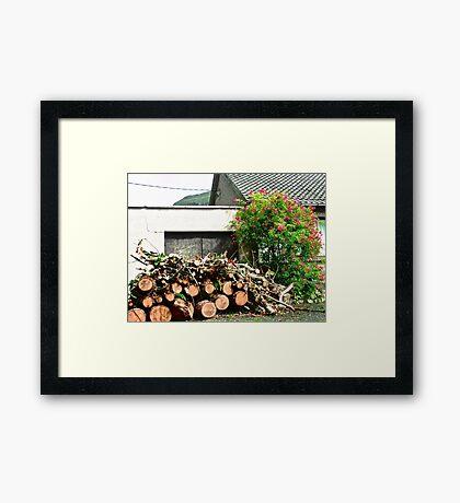 Logs'n Roses, Sligo, Donegal, Ireland Framed Print