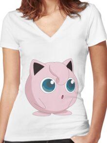 Jigglypuff song Women's Fitted V-Neck T-Shirt