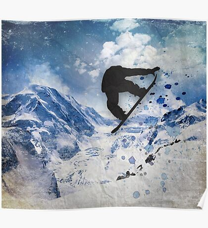 Snowboarder In Flight Poster