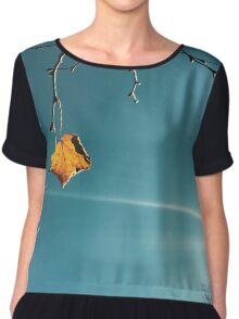 Teal Sky with Leaf Chiffon Top