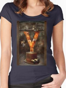 Steampunk - Alphabet - Y is for Yellow Goggles Women's Fitted Scoop T-Shirt
