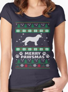 Merry Pawsmas Labrador Dog Christmas T-Shirt Women's Fitted Scoop T-Shirt
