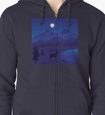 Night Landscape Zipped Hoodie