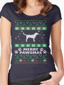 Merry Pawsmas Beagle Dog Christmas T-Shirt Women's Fitted Scoop T-Shirt