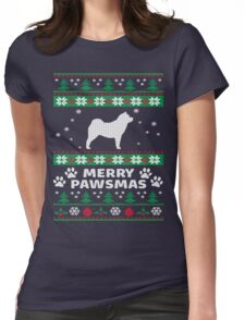 Merry Pawsmas Chowchow Dog Christmas T-Shirt Womens Fitted T-Shirt