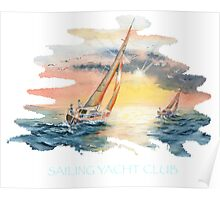 Sailing Yacht Club Blue Words Color Poster