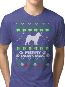 Merry Pawsmas Shiba Inu Dog Christmas T-Shirt Tri-blend T-Shirt