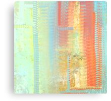 Abstract in Aqua-Blue, Orange, Yellow, and Green Textured Canvas Print