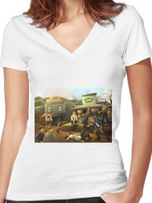 The Sourdough Saloon Women's Fitted V-Neck T-Shirt