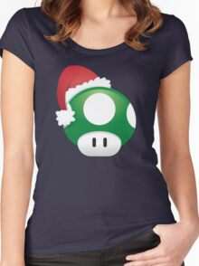 Super Mario 1Up Christmas Mushroom Women's Fitted Scoop T-Shirt