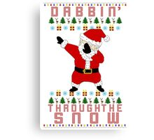 Dabbing Santa Ugly Christmas Sweater T-Shirt Canvas Print