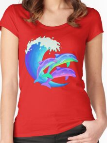 Psychedelic Dolphins Women's Fitted Scoop T-Shirt