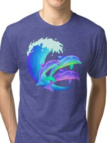 Psychedelic Dolphins Tri-blend T-Shirt