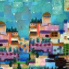 Exotic holiday - pixel block digital art cityscape by goanna