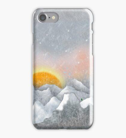 Alone in a Sunrise Snowstorm iPhone Case/Skin