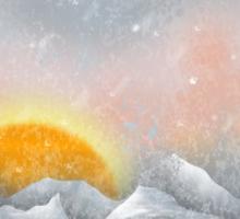 Alone in a Sunrise Snowstorm Sticker