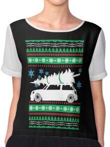 Christmas Car Ugly Sweater Mini Chiffon Top