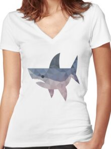 mosaic shark Women's Fitted V-Neck T-Shirt