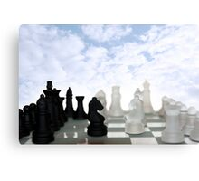 chess pieces isolated against blue sky Canvas Print